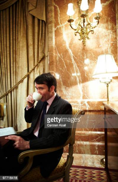 Gavin Halliday, Area General Manager Europe for British Airways , drinks a cup of coffee during an interview on March 12, 2010 in Berlin, Germany.