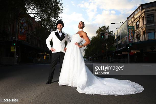 Gavin Haughain and partner Aiden Eric pose in the middle of Oxford St on February 29 2020 in Sydney Australia Gavin and Aiden have stated...