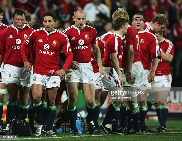 Gavin Henson of the Lions and teammates look dejected after conceding a try during the second test match between New Zealand All Blacks and British...