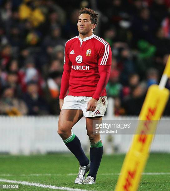 Gavin Henson of the Lions leaves the field after being substituted during the match between British and Irish Lions and Wellington at the the Westpac...