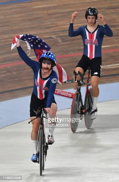Gavin Hoover and Ashton Lambie celebrate after winning the Men's Team Pursuit Gold Final of the Track Cycling competition during the Lima 2019...
