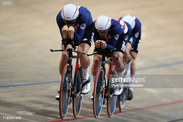 Gavin Hoover Ashton Lambie Colby Lange and Eric Young of USA compete in the men's pursuit qualifying on day one of the UCI Track Cycling World...