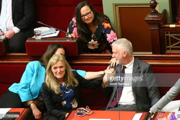 Gavin Jennings MP is congratulated as the bill passes inside of the Parliament of Victoria on November 22 2017 in Melbourne Australia Government MPs...