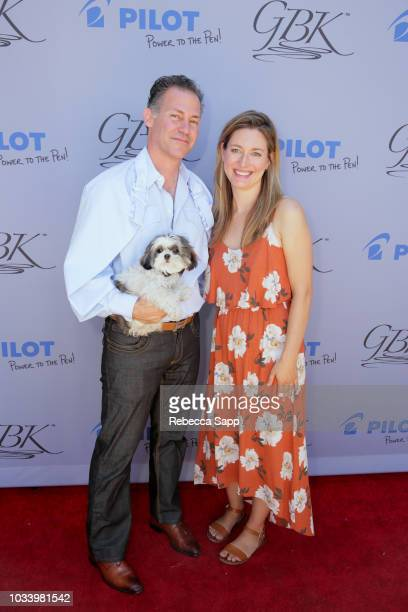 Gavin Keilly of GBK and Zoe Perry attend Pilot Pen GBK Celebration Lounge Day 2 at LÕErmitage on September 15 2018 in Beverly Hills California