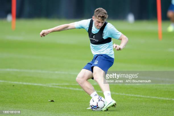 Gavin Kilkenny of Bournemouth kicks the ball during a pre-season training session at Vitality stadium on August 03, 2021 in Bournemouth, England.