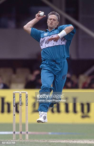 Gavin Larsen bowling for New Zealand during the World Cup Super Six match between New Zealand and South Africa at Edgbaston Birmingham 10th June 1999