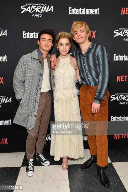 Gavin Leatherwood Kiernan Shipka and Ross Lynch attend a screening of the Chilling Adventures of Sabrina Part 2 hosted by Entertainment Weekly and...