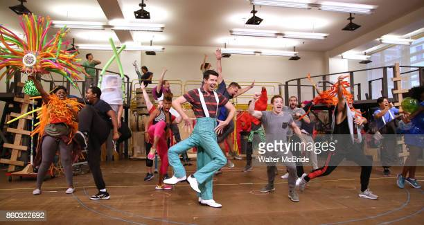 Gavin Lee and Ethan Slater with cast during the press preview rehearsal of the new broadway musical on 'SpongeBob SquarePants' on October 11 2017 at...
