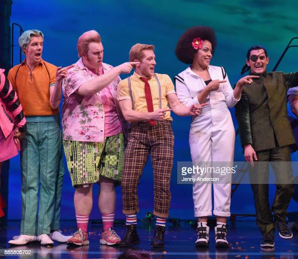 Gavin Lee Danny Skinner Ethan Slater Lilli Cooper and Wesley Taylor poses onstage during opening night of Nickelodeon's SpongeBob SquarePants The...