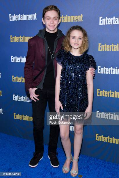 Gavin Lewis and Megan Stott attend Entertainment Weekly PreSAG Celebration at Chateau Marmont on January 18 2020 in Los Angeles California