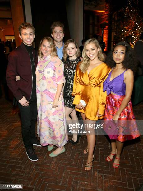 Gavin Lewis Liz Tigelaar Jordan Elsass Megan Stott Jade Pettyjohn and Lexi Underwood attend the Hulu LA Press Party 2019 at Spago on November 12 2019...