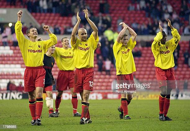 Gavin Mahon and Watford celebrate their 10 win during the FA Cup 5th round match between Sunderland and Watford at The Stadium of Light Sunderland...