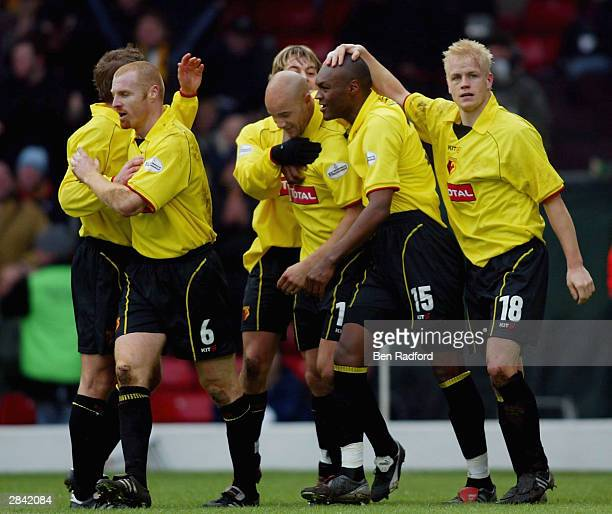 Gavin Mahon of Watford celebrates scoring a goal during the FA Cup Third Round match between Watford and Chelsea at Vicarage Road on January 3 2004...