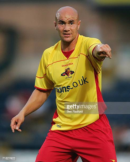 Gavin Mahon of Watford in action during the friendly match between Wycombe Wanderers and Watford at Adams Park on July 26 2006 in High Wycombe England