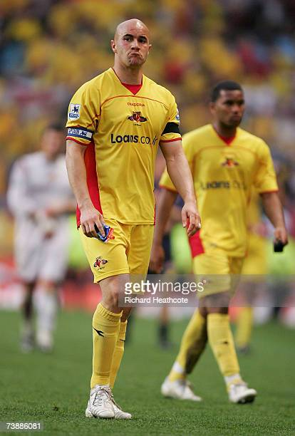 Gavin Mahon of Watford walks off after the final whistle during the FA Cup Semi Final sponsored by EON between Watford and Manchester United at Villa...