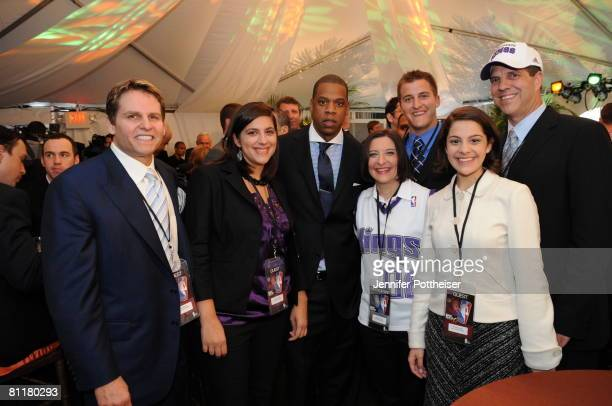 Gavin Maloof part owner of the Sacramento Kings poses with JayZ Investor and Minority Owner of the New Jersey Nets prior to the 2008 NBA Draft...