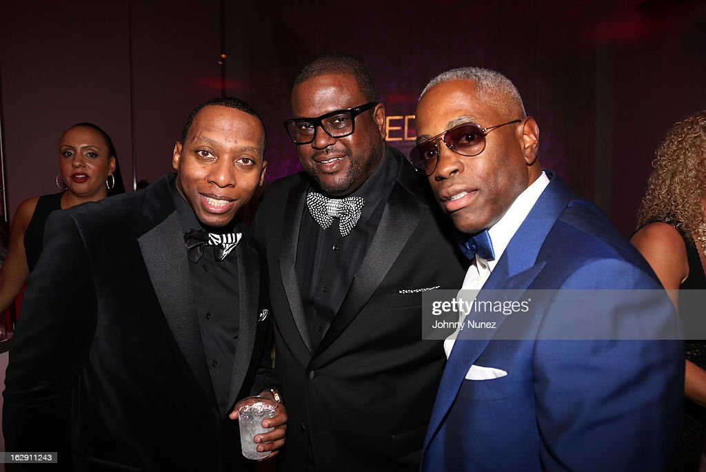Gavin Marchand, Don Pooh, and guest attend Kedar Massenburg's 50th Birthday Celebration at Water Fall Mansion on February 28, 2013 in New York City.