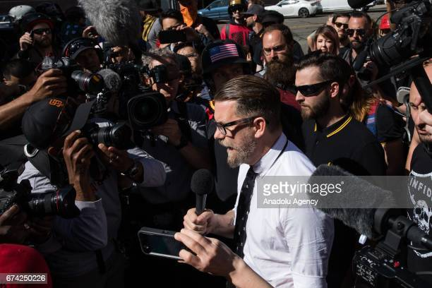 Gavin McInnes a Canadian right wing provocateur and Vice Media cofounder addresses members of the media as he leaves a proDonald Trump rally at...