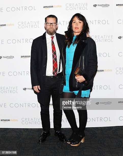 Gavin McInnes with his wife Emily attend the 'Creative Control' New York Premiere at Landmark's Sunshine Cinema on March 3 2016 in New York City