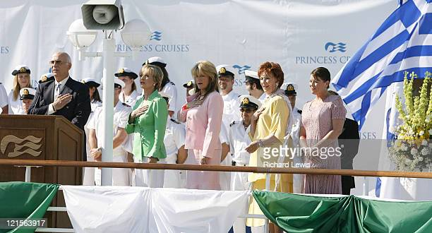 Gavin McLeod Susan Olsen Florence Henderson Marion Ross and Erin Moran as they christen the new 113000 ton Emerald Princess during a historic...