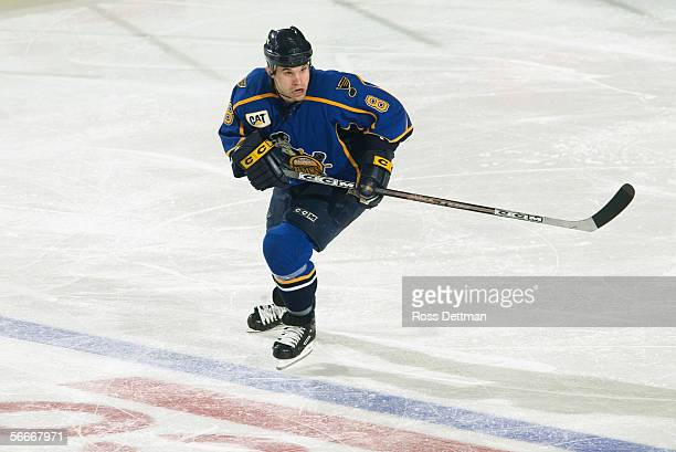 Gavin Morgan of the Peoria Rivermen skates against the Chicago Wolves at Allstate Arena on December 11 2005 in Rosemont Illinois The Wolves won 41