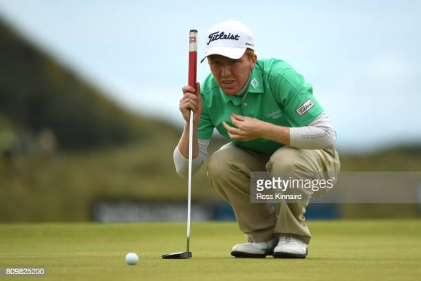 Gavin Moynihan of Ireland lines up on the 17th green during day one of the Dubai Duty Free Irish Open at Portstewart Golf Club on July 6 2017 in...