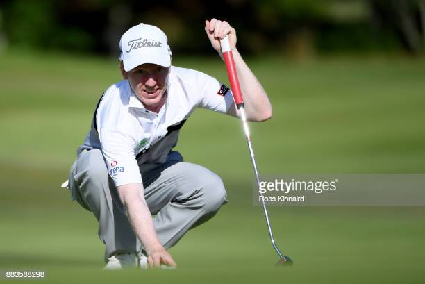 Gavin Moynihan of Ireland on the 7th green during the second round of the AfrAsia Bank Mauritius Open at Heritage Golf Club on December 1 2017 in Bel...