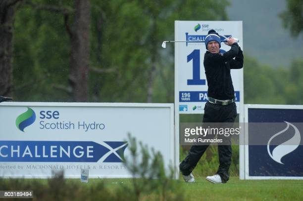 Gavin Moynihan of Ireland plays his tee shot at the 10th hole during the first day of the 2017 SSE Scottish Hydro Challenge hosted by MacDonald...