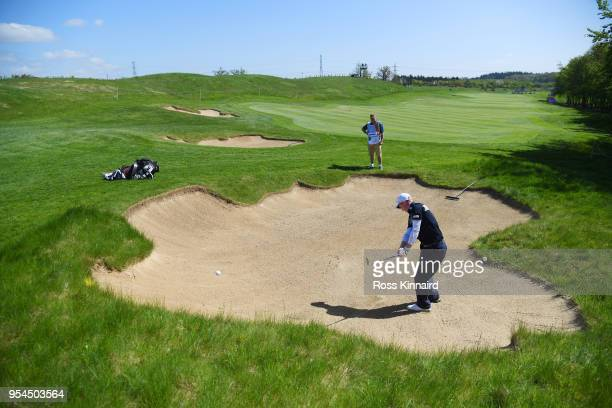 Gavin Moynihan of Ireland plays his their shot on the 3rd hole during the ProAm tournament ahead of the GolfSixes at The Centurion Club on May 4 2018...