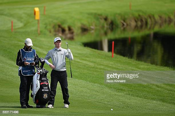 Gavin Moynihan of Ireland prepares to hit his 2nd shot on the 17th hole during the third round of the Dubai Duty Free Irish Open Hosted by the Rory...