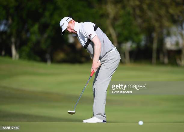 Gavin Moynihan of Ireland putts on the 7th green during day two of the AfrAsia Bank Mauritius Open at Heritage Golf Club on December 1 2017 in Bel...