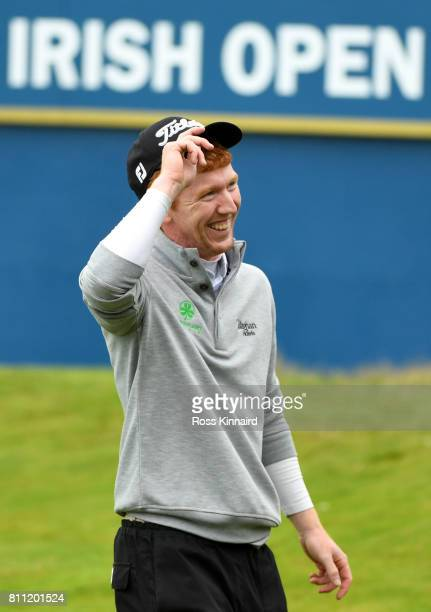 Gavin Moynihan of Ireland reacts on the 18th green during the final round of the Dubai Duty Free Irish Open at Portstewart Golf Club on July 9 2017...