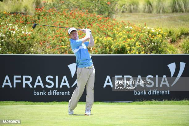 Gavin Moynihan of Ireland tees off on the 18th during day one of the AfrAsia Bank Mauritius Open at Heritage Golf Club on November 30 2017 in Bel...
