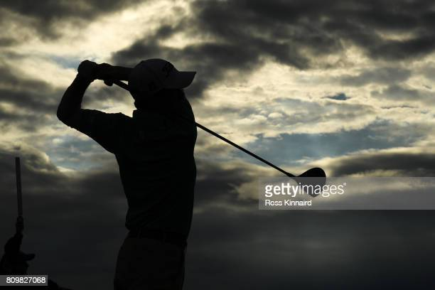 Gavin Moynihan of Ireland tees off on the 18th hole during day one of the Dubai Duty Free Irish Open at Portstewart Golf Club on July 6 2017 in...