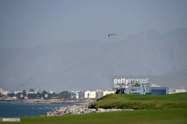 Gavin Moynihan of Ireland tees off on the 18th hole during day one of the NBO Golf Classic Grand Final at Al Mouj Golf on November 1 2017 in Muscat...