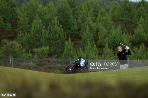 Gavin Moynihan of Northern Ireland plays his second shot to the 9th hole during the second day of the 2017 SSE Scottish Hydro Challenge hosted by...