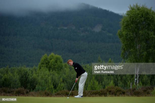 Gavin Moynihan of Northern Ireland putting to the 9th hole during the second day of the 2017 SSE Scottish Hydro Challenge hosted by MacDonald Hotels...