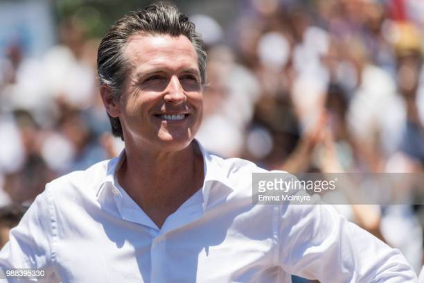 Gavin Newsom attends 'Families Belong Together Freedom for Immigrants March Los Angeles' at Los Angeles City Hall on June 30 2018 in Los Angeles...
