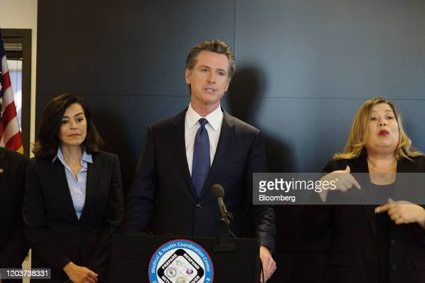 Gavin Newsom governor of California speaks during a news conference at the California State Capitol in Sacramento California US on Thursday Feb 27...