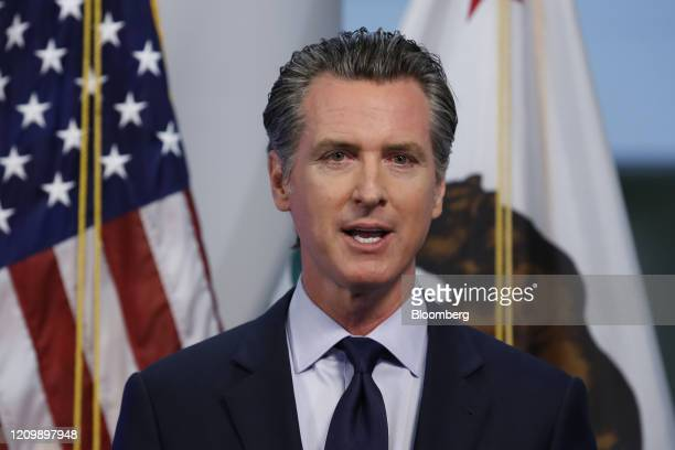 Gavin Newsom, governor of California, speaks during a news conference in Sacramento, California, U.S., on Tuesday, April 14, 2020. Newsom outlined...