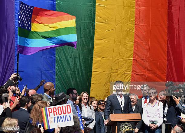 Gavin Newsom lieutenant governor of California speaks during a news conference outside City Hall after the US Supreme Court samesex marriage ruling...