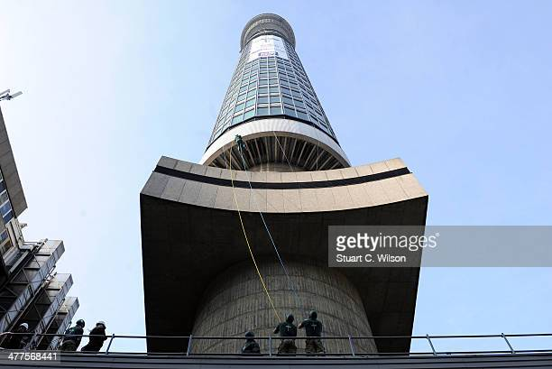 Gavin Patterson Chief Executive of BT abseils down the BT Tower to launch the 350th Anniversary of the Royal Marines at the BT Tower on March 10 2014...