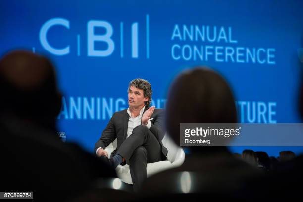 Gavin Patterson chief executive officer of BT Group Plc gestures while speaking at the Confederation of British Industry Annual Conference in London...
