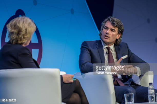 Gavin Patterson of BT Group attends a conference on 'Creating Better Content and Media' at the Mobile World Congress 2018 on February 26 2018 in...