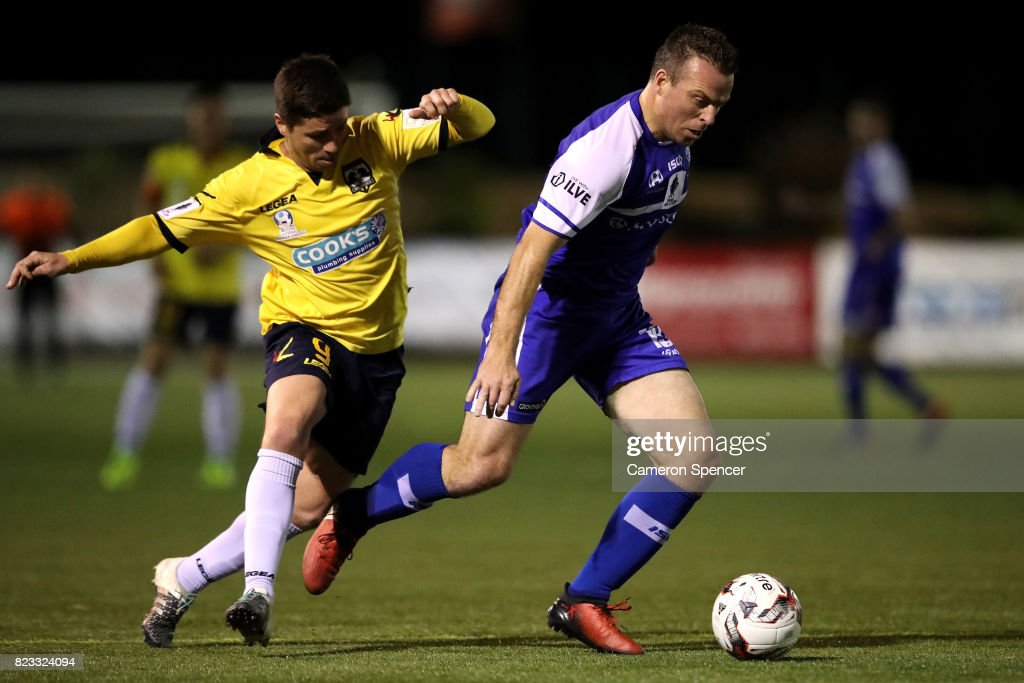Gavin Rae of Hakoah FC and Sean Mitchell of Hills Brumbies contest the ball during the FFA Cup round of 32 match between Hills United FC and Hakoah Sydney City East at Lily's Football Stadium on July 26, 2017 in Sydney, Australia.