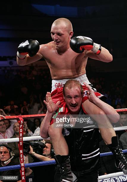 Gavin Rees celebrates his win against Souleymane M'baye during the WBA Light Welterweight title fight on July 21 2007 at the Cardiff International...