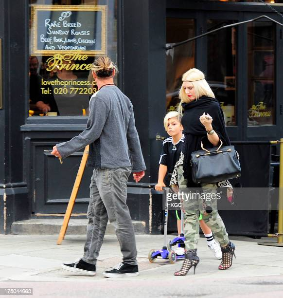 Gavin Rossdale Gwen Stefani and Kingston Rossdale seen visiting The Princess Pub in Primrose Hill on July 29 2013 in London England