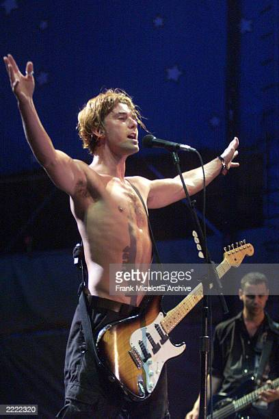 Gavin Rossdale lead singer of rock band Bush performs on the east stage Friday night at Woodstock '99 in Rome New York at Griffiss AFB Park for the...