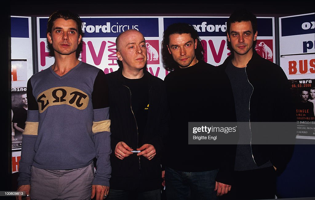 Gavin Rossdale, Nigel Pulsford, Robin Goodridge and Dave Parsons of Bush pose in the HMV store at Oxford Circus in London, England in 2000.