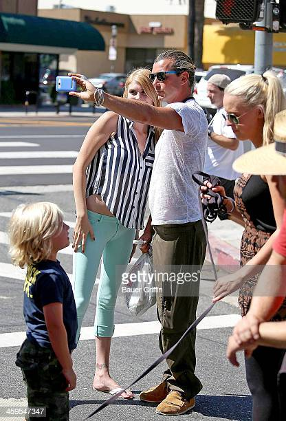 Gavin Rossdale takes his sons Kingston and Zuma to the Studio City Farmer's Market on September 08 2013 in Los Angeles California